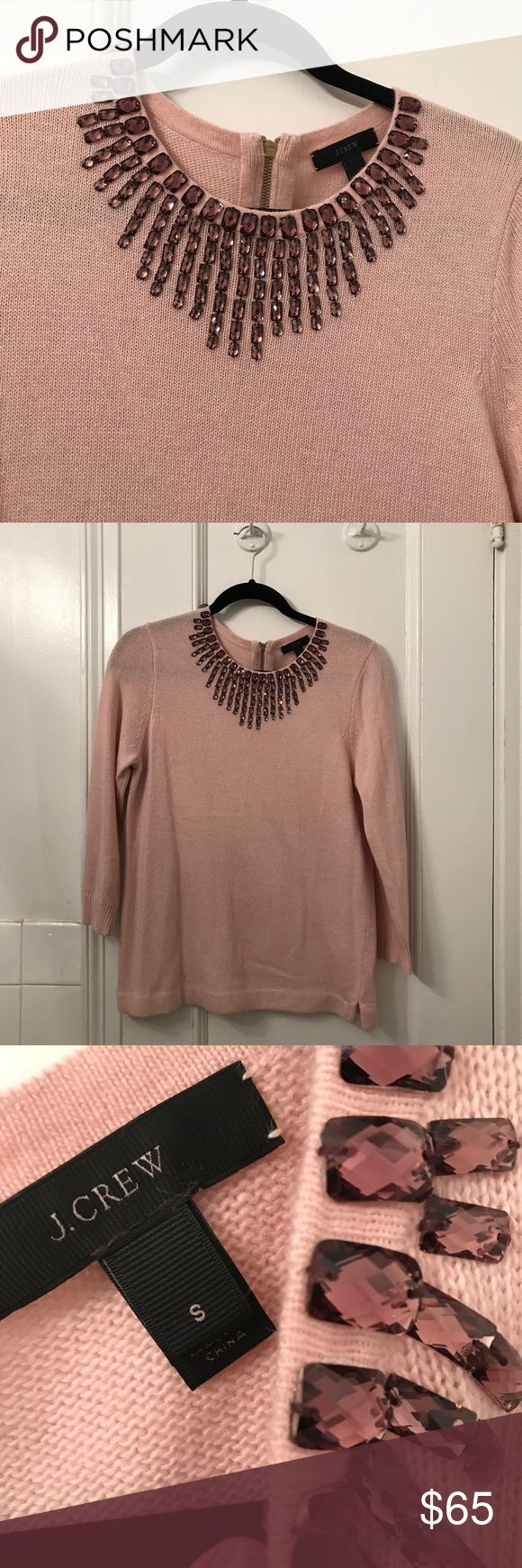 J. Crew Blush Pink Embellished Sweater Small Blush pink 3/4 sleeve sweater with stone embellishments. Gold tone zipper in back. Has rabbit fur so it's super soft. Dry clean only J. Crew Sweaters Crew & Scoop Necks