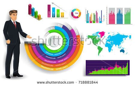 Business infographic elements vector set, businessman and other elements for infographics. Template for diagram, graph, presentation and chart. Business concept with parts, steps or processes.