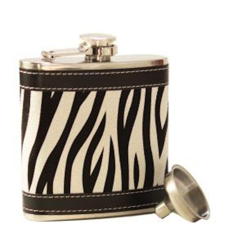 Bella Vita Hip Flask & Funnel 6 oz - Zebra Print