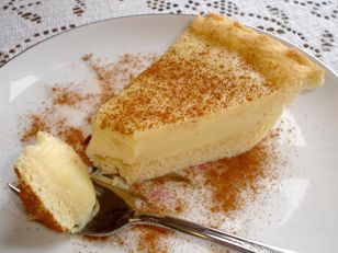 Melktert - a South African dessert  - translation: milk tart (a custard tart)