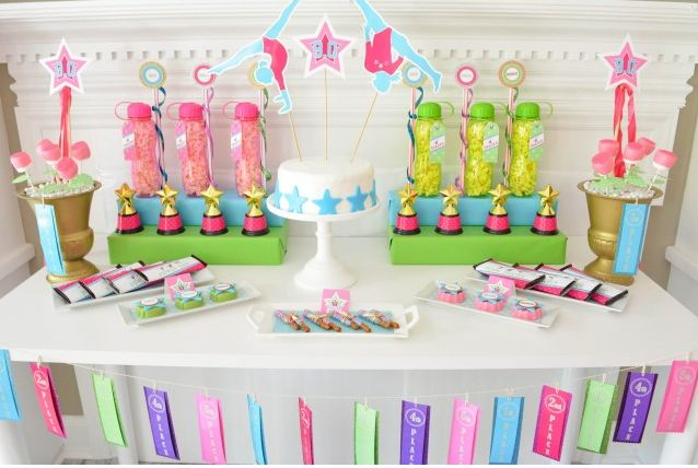 Gymnastics Birthday Party   Decor, favors, cake toppers and more!