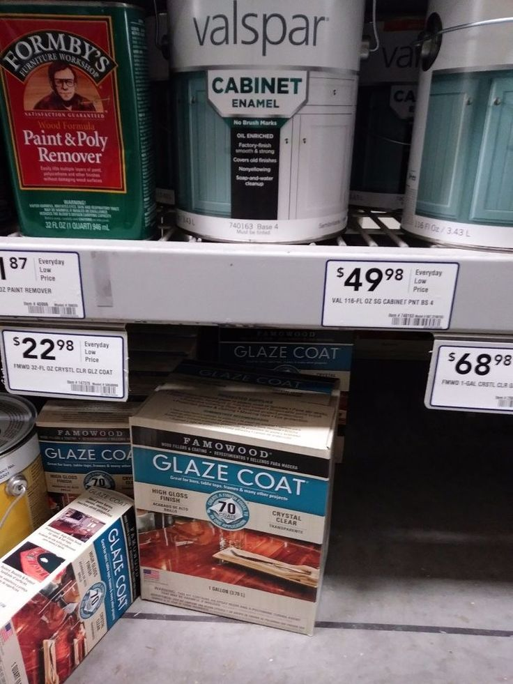 Spray Paint & Glaze Kitchen Counter Make Over Lowes: Glaze Coat 68.98 or if you go to Home Depot they have EnviroTex Lite pour on high gloss finish. Ask for it about the same price. Its not just wood varnish its an epoxy like glaze that self levels itself but will drip down the cabinets.