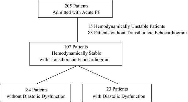 Prognostic implications of diastolic dysfunction in patients with acute pulmonary embolism A history of congestive heart failure has been used to determine the prognosis in patients with acute pulmonary embolism. Diastolic dysfunction is responsible for the half of congestive heart failure but has not been understood well. https://www.ncbi.nlm.nih.gov/pmc/articles/PMC4167149