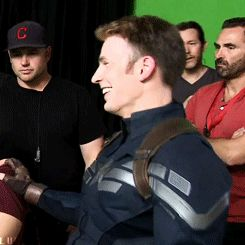 Best smile GIF Behind the scenes Winter Soldier the guy in the red...I didn't know Grumpy cat was here
