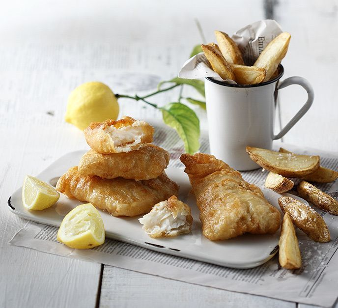 Fish and Chips by chef Akis. Delicious fish and chips in a delicious crispy, puffy batter. Served with tartar sauce, mushy peas and chips.
