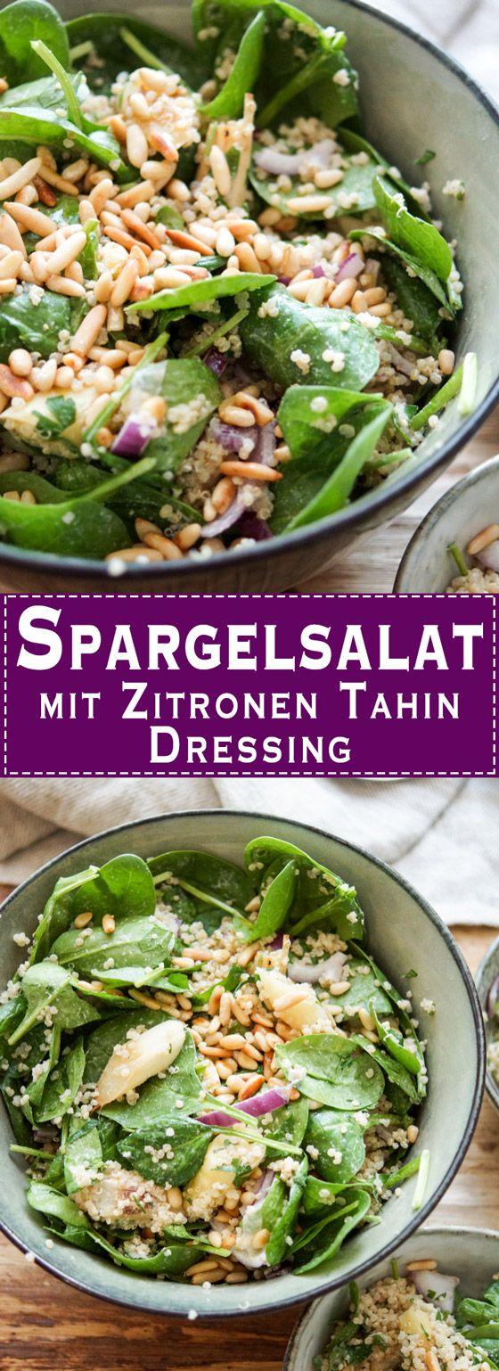 Dieses Rezept für Spargelsalat bietet eine überraschende Kombination aus geröstetem weißem Spargel, Quinoa, zartem Baby-Spinat und einem Zitronen Tahin Dressing mit Pinienkernen. Der Salat ist vegan, glutenfrei und extrem lecker. Elle Republic