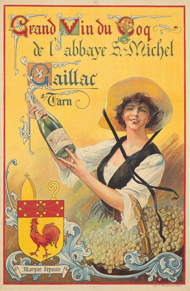 Grand Vin du Coq de l'abbaye St Michel - Gaillac sur Tarn - 1910 - Vignoble de Gaillac près de Brin de Cocagne -  chambre d'hôtes écologique de charme dans le Tarn près d'Albi - Brin de Cocagne
