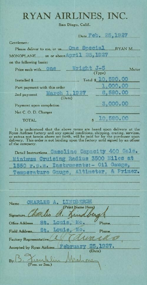 """Receipt of purchase of a monoplane (""""Spirit of St. Louis"""") from Ryan Airlines, Inc., San Diego, Calif., signed by Charles A. Lindbergh, February 25, 1927 