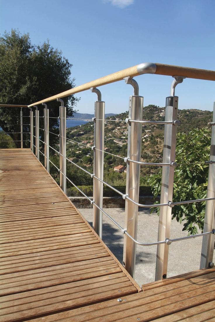 Balustrade en aluminium, modèle INOLINE.    Composez-vous même votre balustrade grâce à la balustrade aluminium Inoline pour donner à votre extérieur une allure moderne.