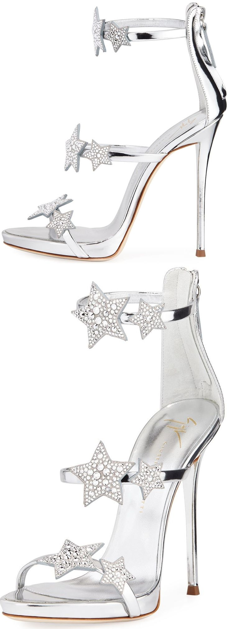 Giuseppe Zanotti's metallic leather sandal with Swarovski crystal star ornaments