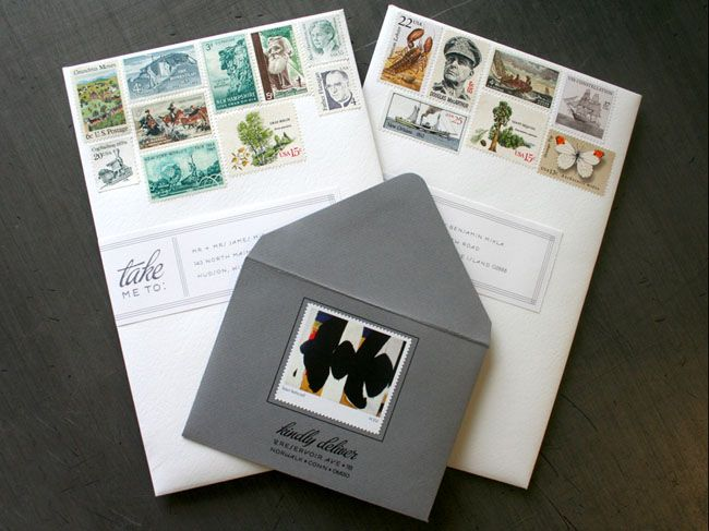 Stamp invitations: Design Inspiration, Amazing Stamps, Beautiful Stamps, Wedding Invitations, Vintage Stamps, Unique Invitations, Card, Address Labels, Stamps Invitations