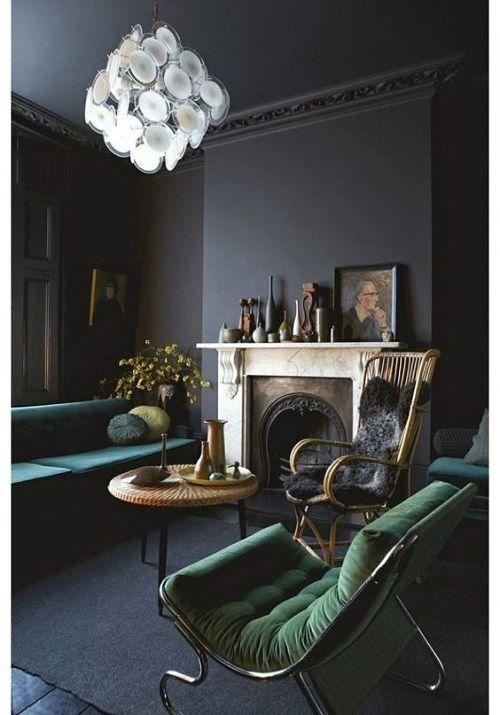 Темно-зеленые отделки мебели в интерьере