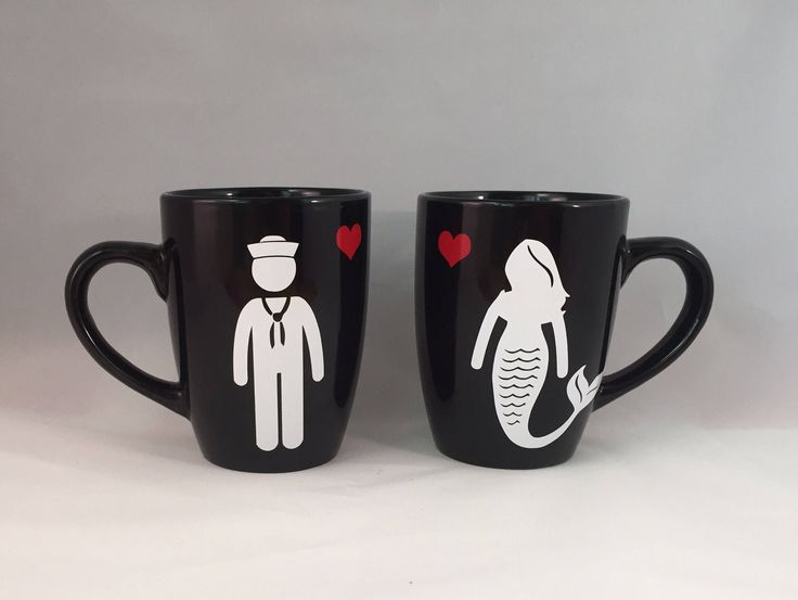 Sailor and Mermaid // His and Hers Coffee Mug Set // Navy Wife // Navy Girlfriend by MadeInMandyland on Etsy