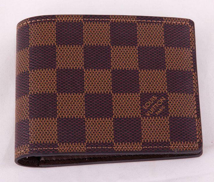 Кошелек Louis Vuitton кожаный в коричневую клетку небольшой #18851