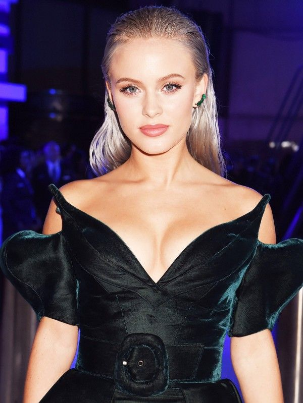 Zara Larsson's silvery slicked-back hair is on point