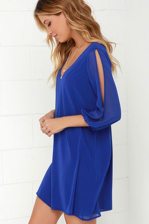 Pretty Royal Blue Dress - Shift Dress - Cold Shoulder Dress - $44.00