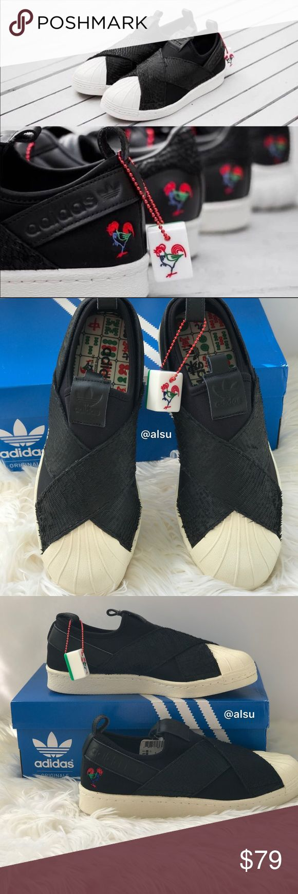 NWT Adidas SUPERSTAR SlipOn W Core Black WMNS Brand new with box. Price is firm! No trades! Runs half size bigger! Size 8 true to size 8,5. Slip-on knit upper with suede overlays Classic rubber shell toe Wide crisscross elastic straps over forefoot Trefoi