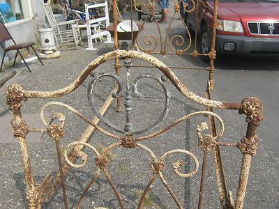 Antique Ornate Victorian Cast Iron Bed with Brass Heart Accents  ......... weathered