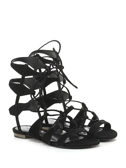 SCHUTZ - Sandalo basso - Donna - Sandalo basso in camoscio con allacciatura su gambale e suola in cuoio. Tacco 20, applicazione metallica su retro. - BLACK - € 200.00