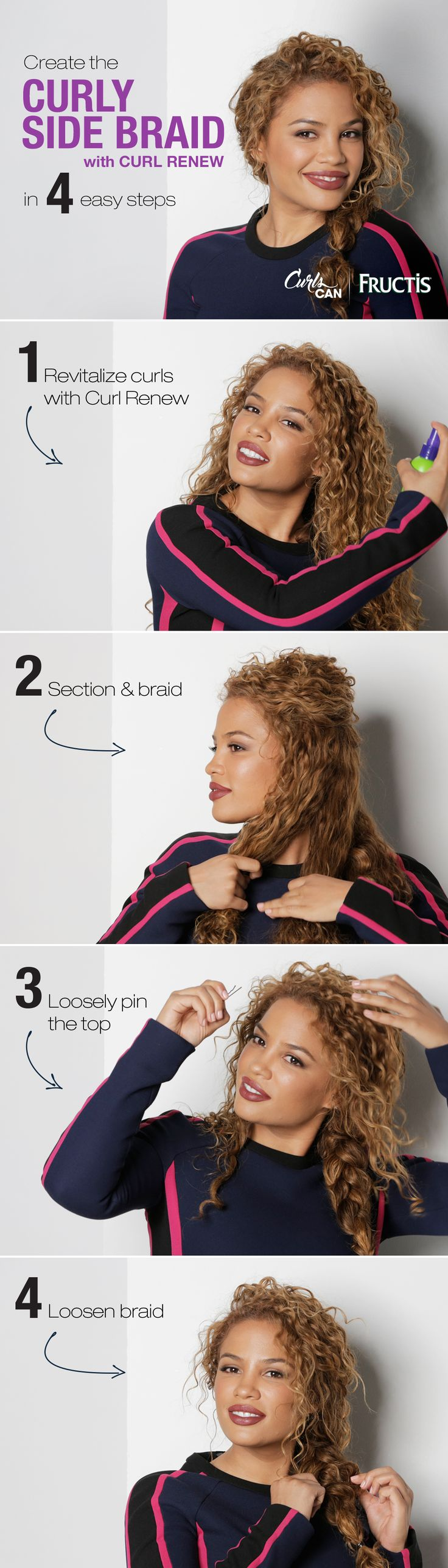 Curly hair is perfect for a messy braid! Watch Andrea's Choice create this simple Curly Side Braid hairstyle using Curl Renew spray to keep her curls hydrated and frizz-free. Because #CurlsCan!