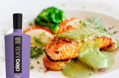 Salmon with wasabe and olive oil sauce grilled with EVOO Olea Juice #EVOO #oliveoil #greekcuisine