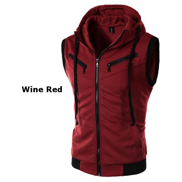 s summer casual vest fashion sleeveless hooded vest ($19) ❤ liked on Polyvore featuring men's fashion, men's clothing, men's outerwear, men's vests, wine red, mens vest outerwear, mens zip vest, mens red vest, mens summer vests and mens hooded vest
