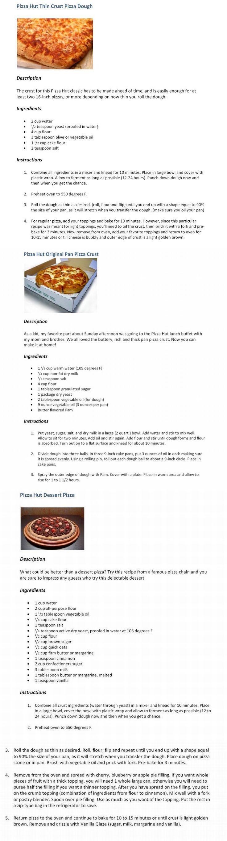 Pizza Hut Recipes!!!                                                                                                                                                      Más