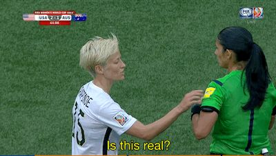 Asking a stranger about their cute top | 20 USWNT GIFs That Are Perfect For Any Situation