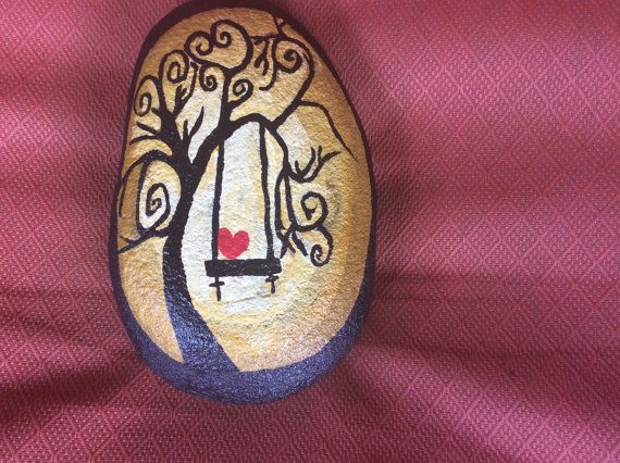 Swing in the Moonlight, Painted Garden Rock, Hand Painted Stone, Gift, Garden Art,Paper Weight,