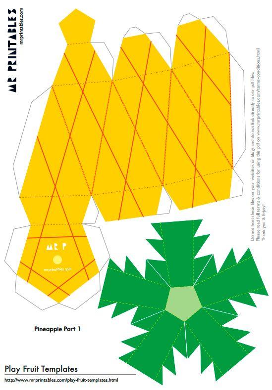 Шаблоны фруктов из бумаги для детей для вырезания и склеивания - ананас