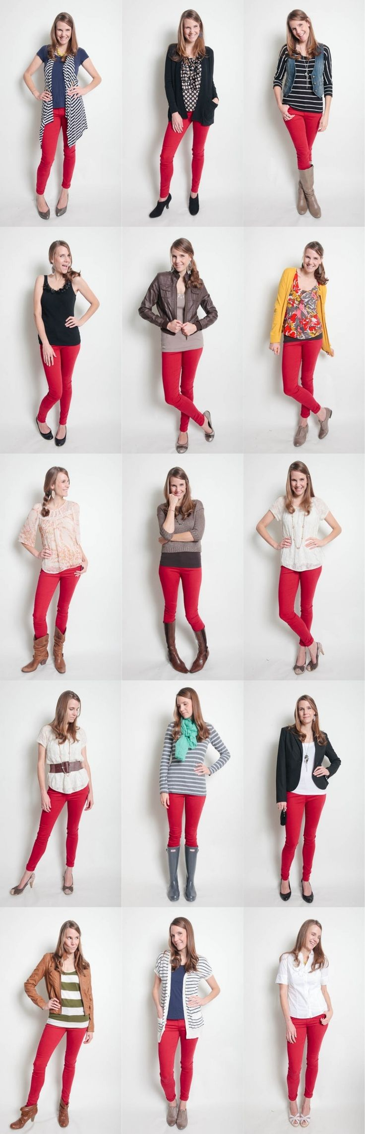 how to style outfits with red pants