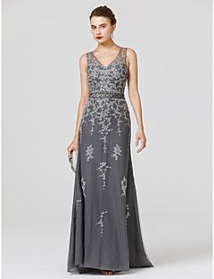 Ίσια Γραμμή Λαιμόκοψη V Ουρά Τούλι Επίσημο Βραδινό Φόρεμα με Χάντρες Διακοσμητικά Επιράμματα Ζώνη / Κορδέλα με TS Couture®