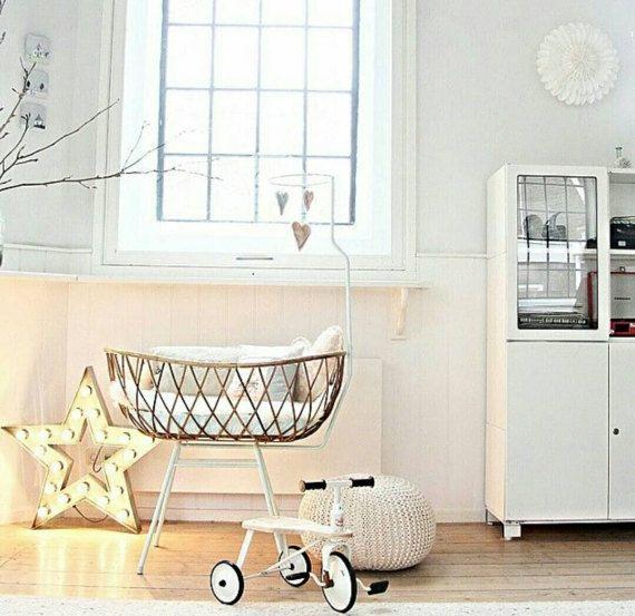 Rattan Cradle Crib Bassinet by Rohe Noordwolde with Prenatal Mattress