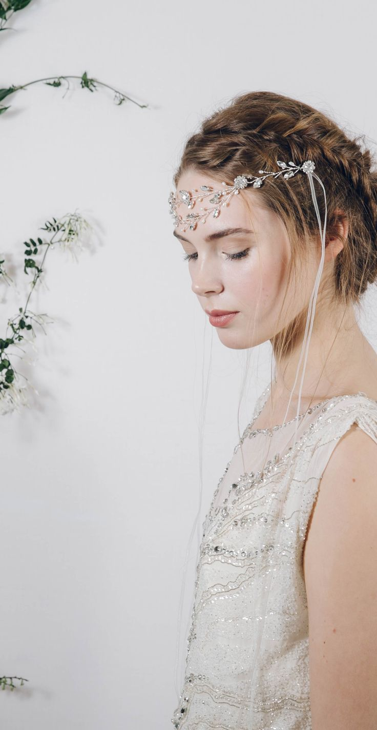 Double band of beauty from Debbie Carlisle http://www.debbiecarlisle.com/collections/headpieces/products/bohemian-ethereal-bridal-crystal-browband-headband-isadora