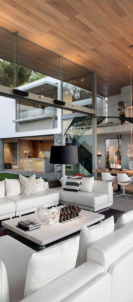 white living room...wood ceiling