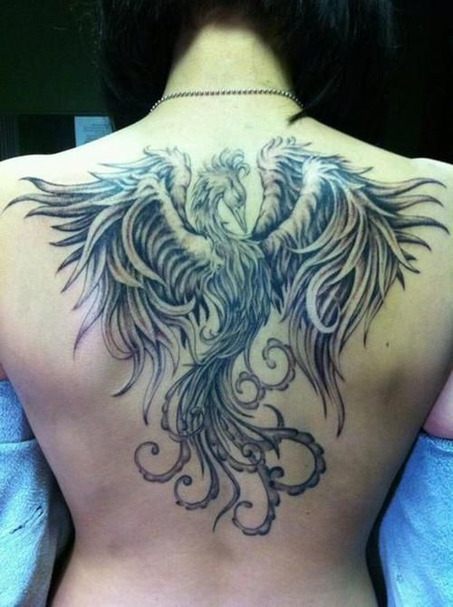 Tattoo Phoenix Side Back Black And Gray Oriental Piece Drummer, I like the placement of this one
