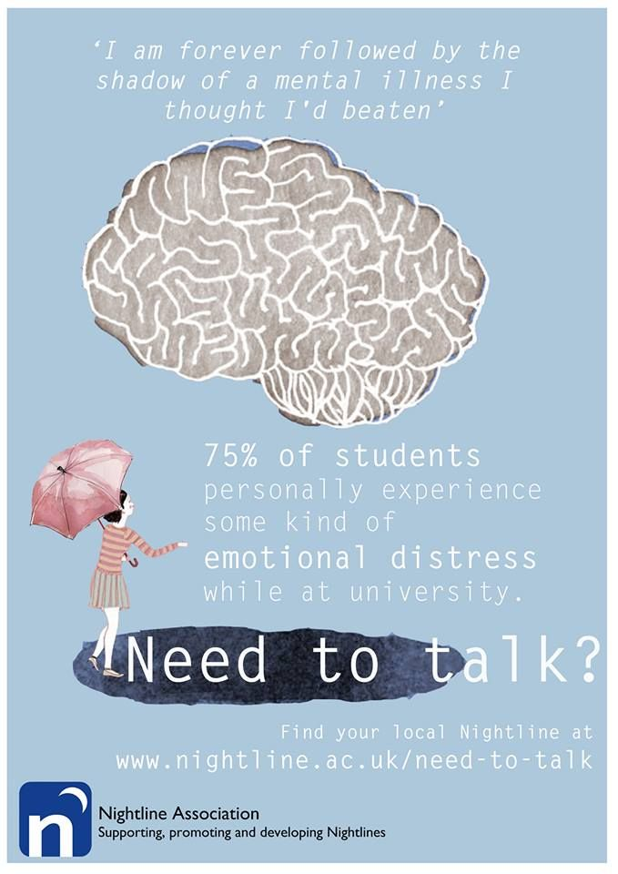 We understand the difficulties of university and mental health problems, and are here for when you need to talk.