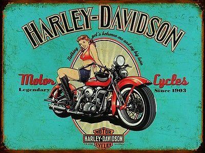 Plaque métal vintage Harley Davidson motorcycles - 15x20
