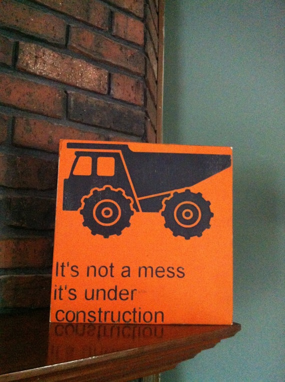 Dump truck sign kids decor boys room art hand by SimpleChicLiving, $30.00