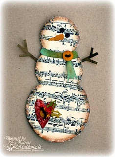 snowman ornament from old book page