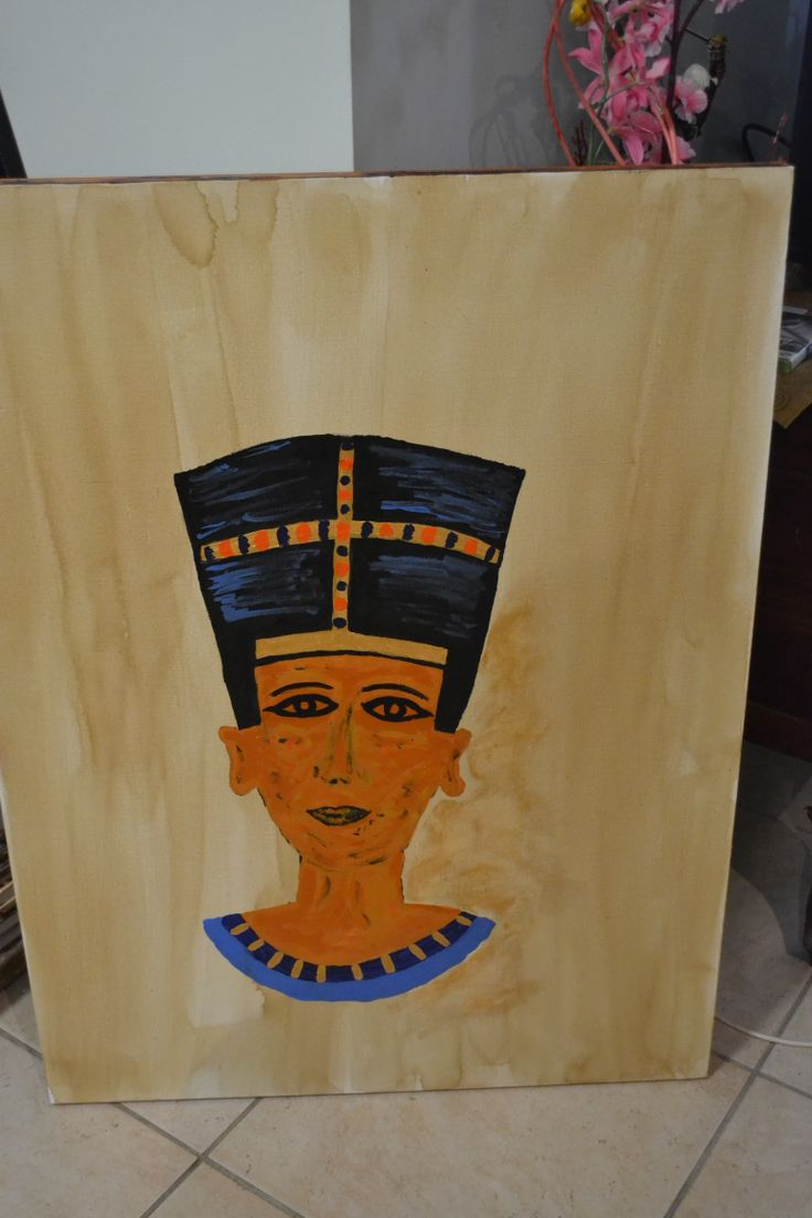 "created this for my sisters birthday, she loves anything Egyptian.. ""the Egyptian queen Nefertiti"" .. acrylics on coffee stained canvas"