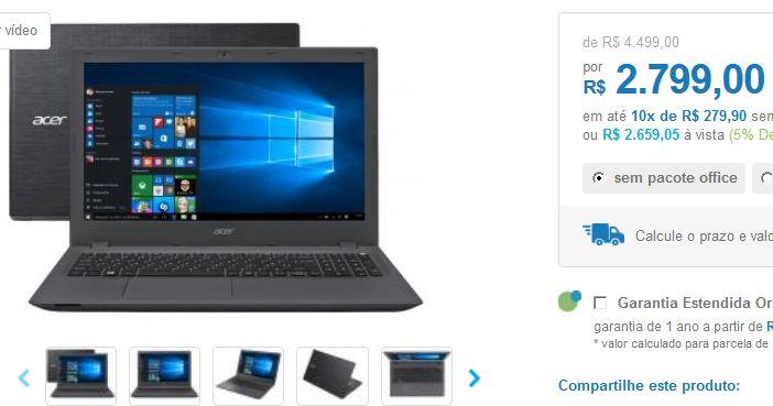 """Notebook Acer Aspire E5 Intel Core i7 8GB 1TB LED 156""""  Placa de Vídeo GeForce 920M 2GB << R$ 265905 >>"""