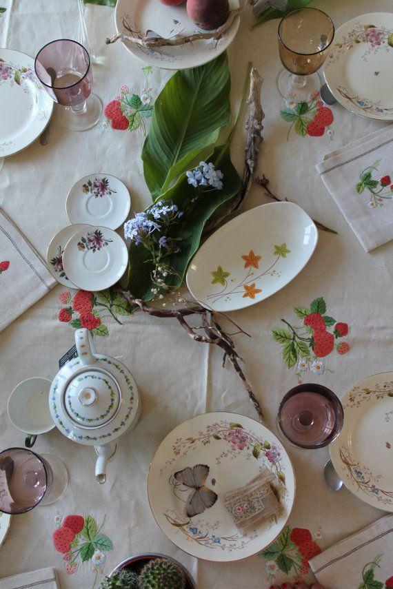 Nappe de table rectangulaire et 6 serviettes en lin par HASBEENDECO