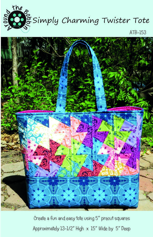 """This product is a PDF Sewing Pattern with detailed color illustrations and instructions to make the Simply Charming Twister Tote. In order to make this tote, you will need the Lil' Twister tool by CS Designs or another pinwheel template that makes pinwheels using 5"""" squares, also known as charm squares. ****This is a listing for a PDF SEWING PATTERN, not a print copy. THIS IS NOT A SEWN PRODUCT FOR SALE.This pattern is for a lined tote with interior pockets and a magn..."""