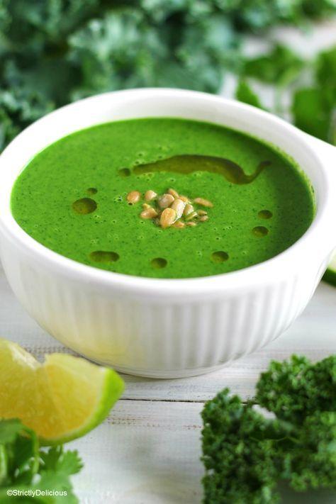 Raw, Vegan Cream of Green Soup via StrictlyDelicious