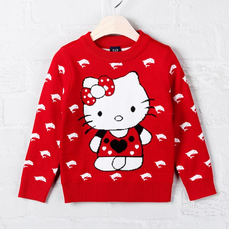 1-2T Autumn Winter Baby Girls Sweater Children Clothing Pull Fille Cotton Hello Kitty Cat Dolphin Knit Red  Garment Kids Clothes