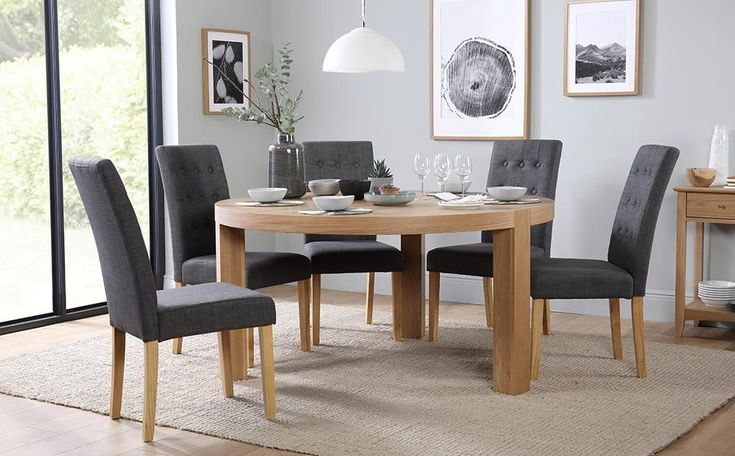 Brighton Round Oak Dining Table with 6 Regent Slate Chairs Only £749.99 | Furniture Choice