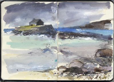 Church in the Sea, Anglesey, A6 sketchbook.Watercolour, Kathy Lewis