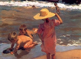 Niños en la playa ~~ Children on the beach. Joaquin Sorolla. ~~ For more:  - ✯ http://www.pinterest.com/PinFantasy/arte-~-pintura-joaqu%C3%ADn-sorolla/