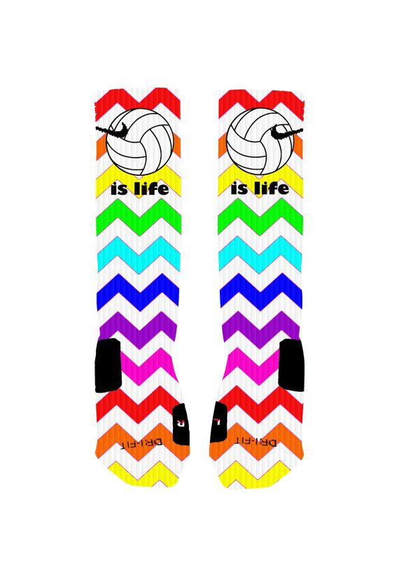 Volleyball Socks Volleyball is Life Rainbow by NikkisNameGifts